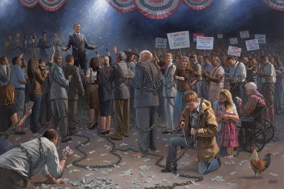 McNaughton Fine Art-this guy has some great stuff.  Notice the common man sawing through his chains while the President is being showered with money.