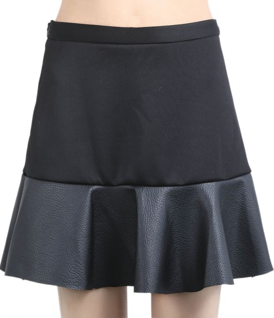 Black Contrast PU Leather Ruffle Skirt US$19.25