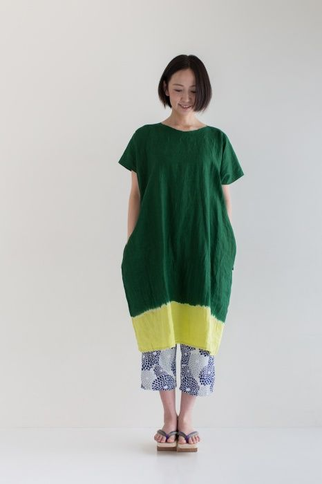 """Rectangle"" Linen One Piece Dress Tabata Tie dye Matcha made of 100% linen"