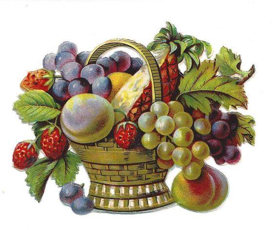 Alte Glanzbilder Oblaten Scraps herrlicher großer Obstkorb um 1900  12 x 9 cm:
