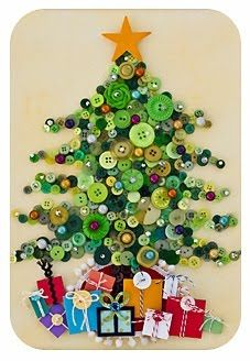 A lot of green buttons! That's what you will need to make this gorgeous DIY button Christmas tree