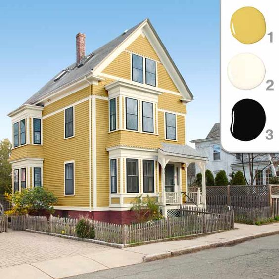 Exterior colors paint colors and house on pinterest for Exterior yellow paint