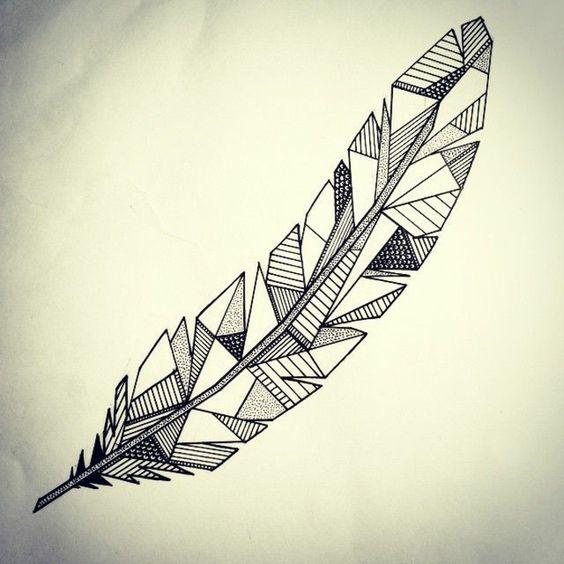 Une plume géométrique qui peut faire un beau tatou