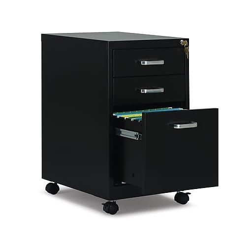 Staples Com Staples 3 Drawer Vertical Mobile File Cabinet Black Letter 19 D 52156 With Fast And Free Shipping In 2020 Filing Cabinet Mobile File Cabinet Drawers