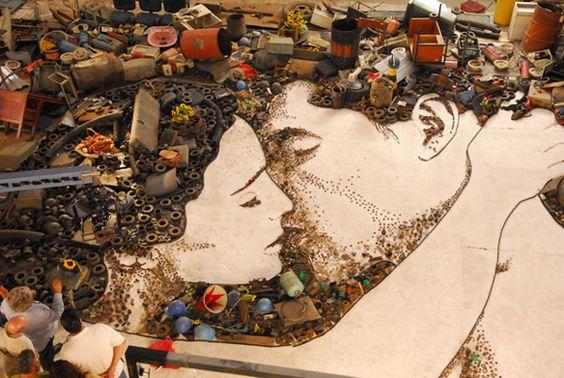 na maior lixeira do mundo - desenho e foto de vik muniz