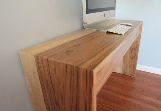 Slim Minimalist Modern Wood Computer Desk By Monkandhoney Furnishings