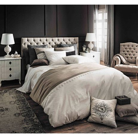 parure de lit 240 x 260 cm en lin blanche et crue manosque maisons du monde chambre. Black Bedroom Furniture Sets. Home Design Ideas