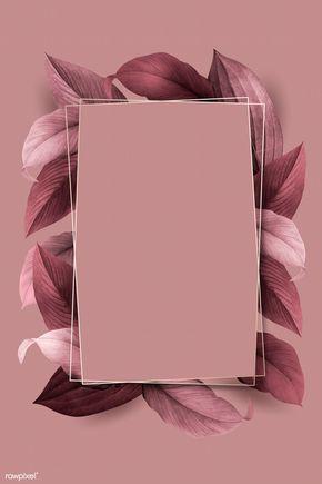 Download Premium Vector Of Rectangle Foliage Frame On White Marble Pink Background Framed Wallpaper Flower Background Wallpaper