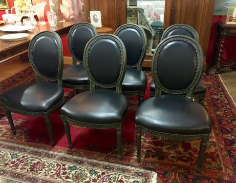 Louis XVI Style Set of Six Black Leather and Oval Back Chairs On Sale Set ofLouis XVI Style Set of Six Black Leather and Oval Back Chairs On  . Louis Xvi Style Furniture For Sale. Home Design Ideas