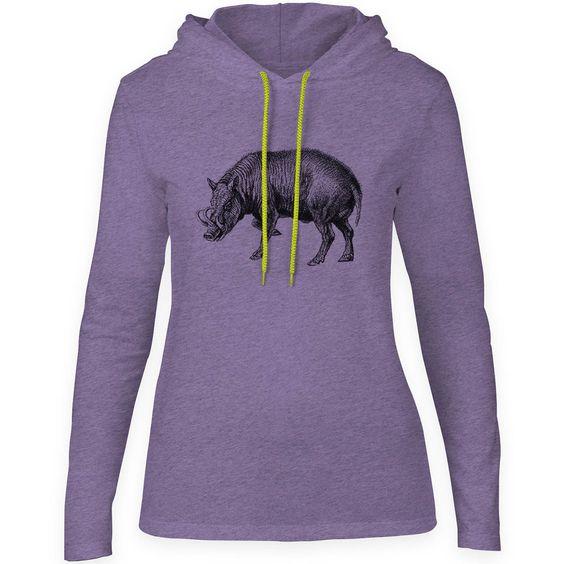 Mintage Horned Swine Womens Fine Jersey Hooded T-Shirt