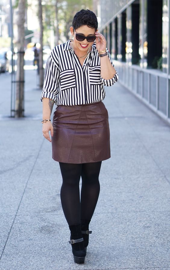 Leather Skirt OOTD with tights and boots now on the blog... | My ...