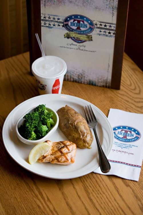 T-Bones grilled salmon, baked potato, broccoli and low fat milk.