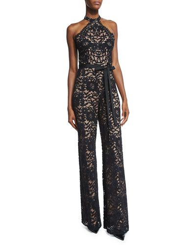 TB0XL Alexis Rene Halter-Neck Lace Jumpsuit, Black: