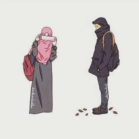 Gambar Kartun Muslimah Couple Romantis Terpisah 2