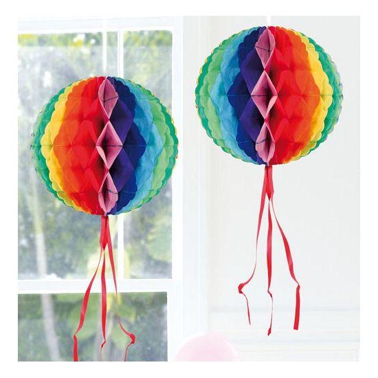 Decoratie bol in regenboog kleuren 30 cm. Regenboog decoratie bol om op te…