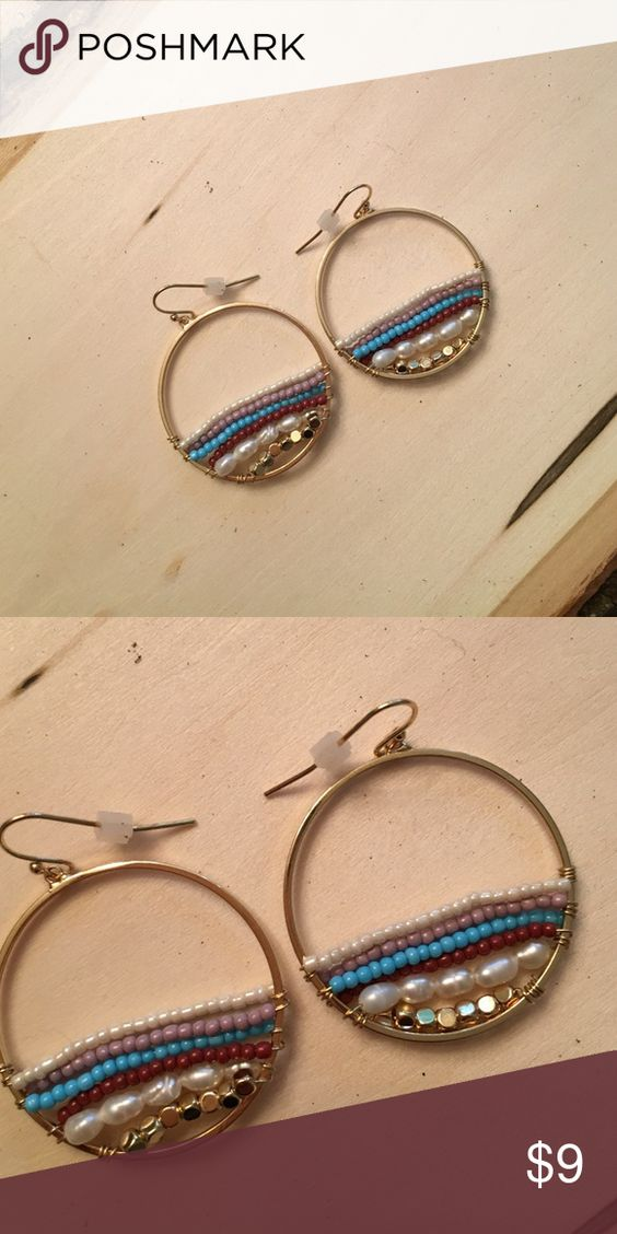 "🆕Bead Hoop Earrings With Freshwater Pearls So fun and colorful! Hoop diameter is just over 1 1/4"". Seed beads in white, lavender, blue and burgundy with freshwater pearls and gold beads. Brand new. Two pair available. Jewelry Earrings"