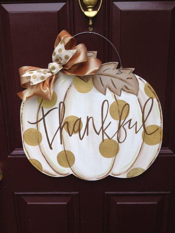 White pumpkin door hanger/Fall Door by TheGildedPolkaDot on Etsy