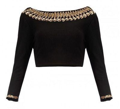 Black Color Velvet Boat Neck blouse For Women Custom Made Saree blouse Sari blouse Skirt Top Crop Top Readymade Top Tunic Top Choli Blouse
