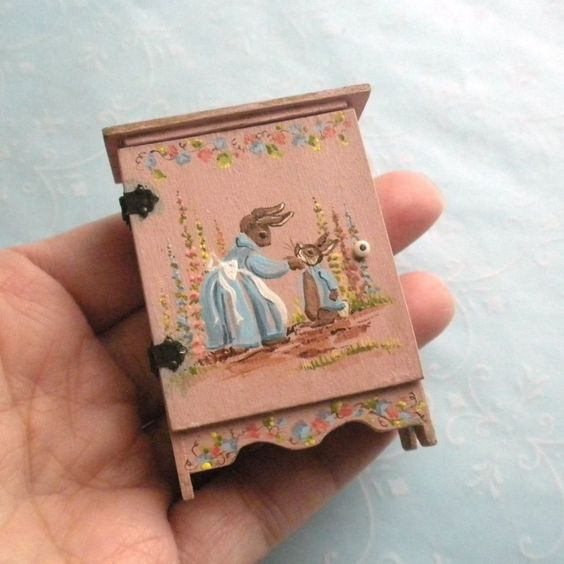 dollhouse miniature Peter Rabbit cupboard by Karen Markland: