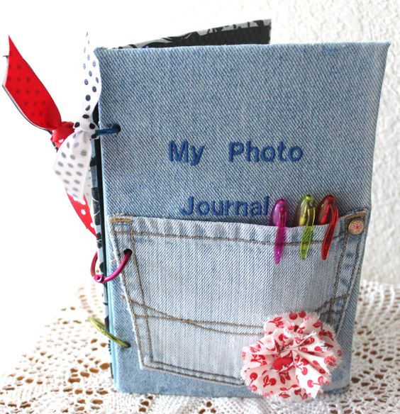 Red and Blue Photo Journal jean notebook pocket by RoadAheadPhotos, $10.00