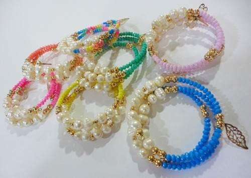 chapa de oro pulsera mix ( cristal y perla de rio ) rm4