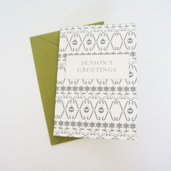 Seasons Greeting Patterned Christmas Holiday Card Neutral Classic - shop greeting cards, handmade stationery, & wedding invitations by dodeline design - 1