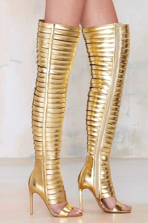 Jeffrey Campbell Blinded Gold Thigh-High Heels | #STYLECHAT STYLE ...