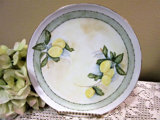 Plate Hand Painted Lemons Porcelain Ceramic Pottery Kitchen Home Decor BLM by PorcelainChinaArt on Etsy