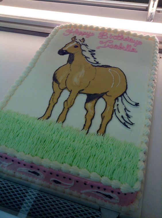 Horse And Bandana Sheet Cake Decorated In Buttercream