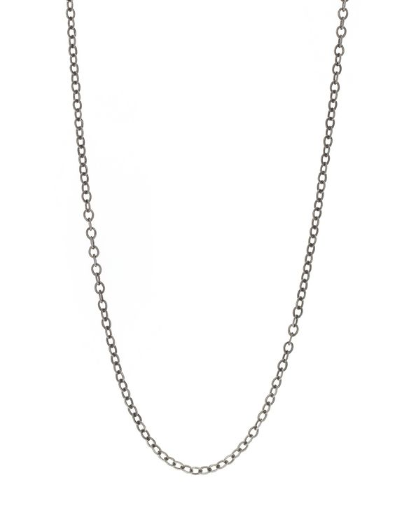 """Lilly Street Blackened Sterling Silver 18"""" Flat Cable Chain Necklace"""