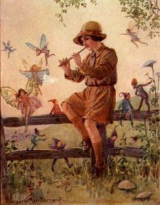 by Margaret Tarrant (1888 - 1950) Little girl playing the flute with fairies and pixies.