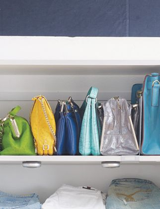library shelf organizers to keep handbags upright