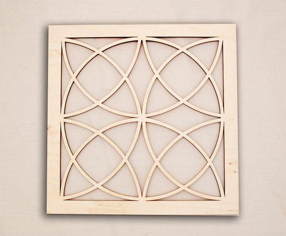 Square Celtic Geometric Wall Art  Raw Wood Home by eyegrinddesign