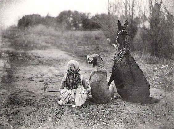 dog horse and little girl sitting on th road - black and white old photo: