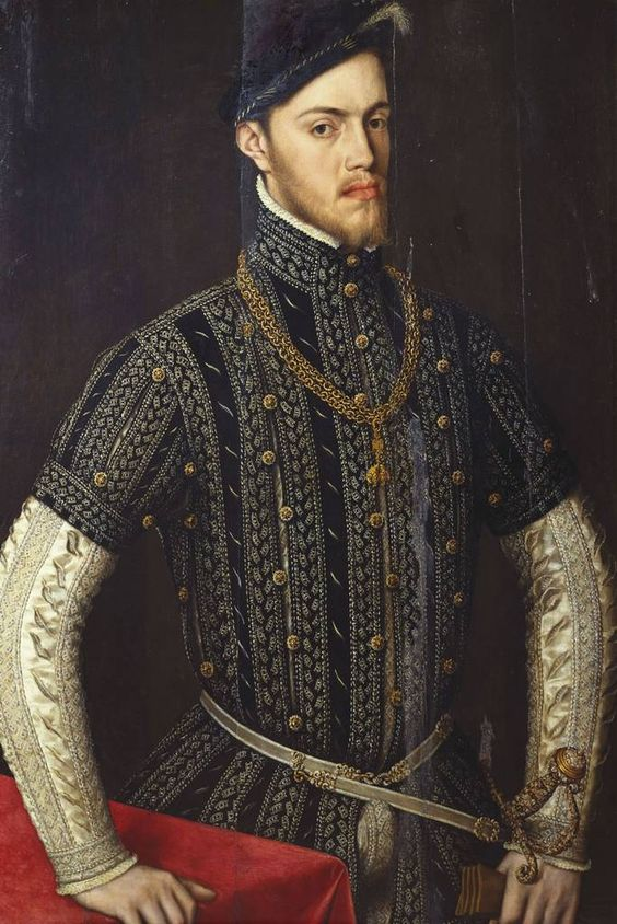 A portrait of Phillip II (1527-1598), King of Spain. After Anthonis Mor, 1558. Philip's wife Mary I of England died the same year that this portrait was painted.