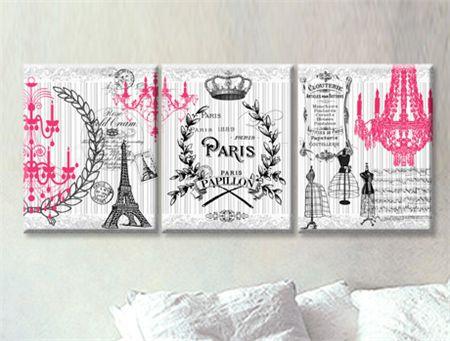 set of 3 Prints on stretched canvas 25cm x 30cm x 2cm each PARIS