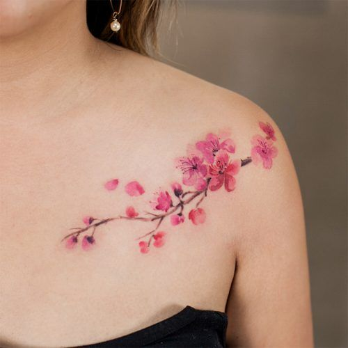 23 Flower Tattoos Designs And Meanings For Your Inspo Cherry Blossom Tattoo Shoulder Flower Tattoo Shoulder Tattoo Designs And Meanings