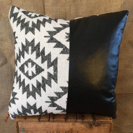 Southwestern Print Throw Pillows : Southwestern Pillow Case, 1/2 Faux Leather, Navajo, Native American Print, Boho Pillows, Leather ...
