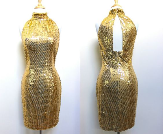 90s Gold Sequin Dress by VolereVintage on Etsy, $54.00