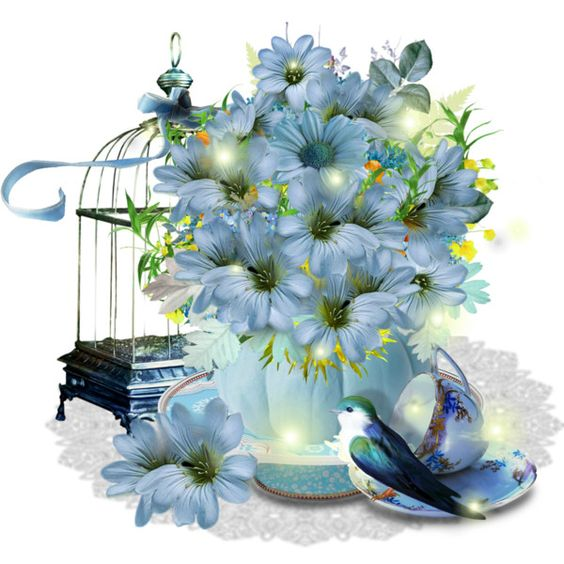 Flowers Arrangement Blue: