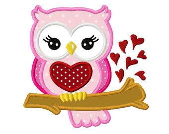 Valentin Sweet Owl 01 Applique -4 x 4 5 x 7 6 x 10-Machine Embroidery Applique Design