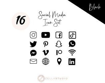 White Social Media Icons Minimalist Social Media Logos Simple Line Icons Instagram Youtube Facebook Tiktok Patreon Etc By Senti Social Media Icons Social Media Icons Free Black Social Media Icons