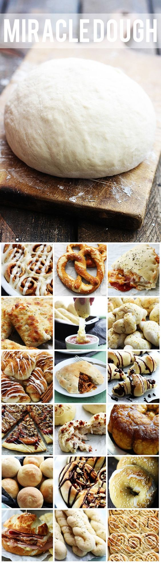 Miracle Dough - just 5 ingredients and only 30 minutes prep. Use it for cinnamon rolls, pizza, soft pretzels, and so much more! One simple dough: endless possibilities!