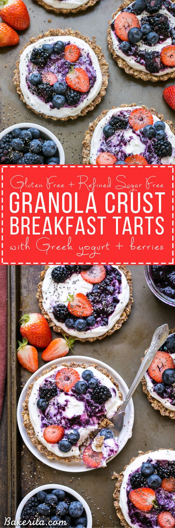 These Granola Crust Breakfast Tarts are topped with Greek yogurt and fresh berries for a fun and filling breakfast! This gluten-free and refined sugar-free twist on a classic parfait looks beautiful and tastes even better.