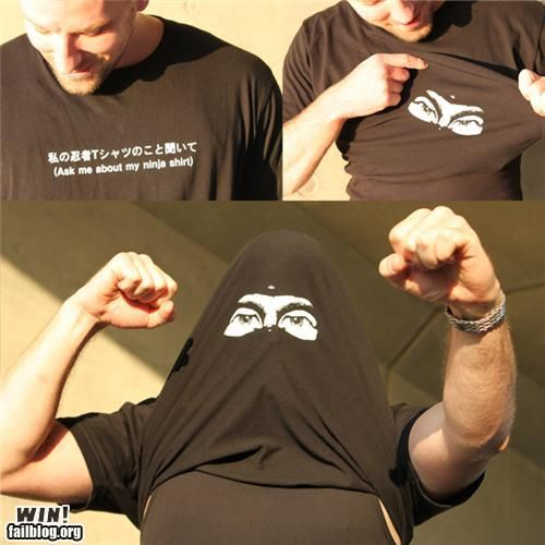 Ask me about my Ninja shirt.....<3 this clever design!