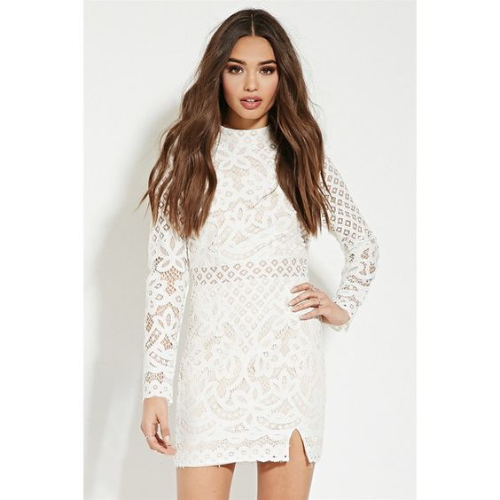 Forever 21 Women's  Lovecat Ornate Lace Mini Dress ($68) ❤ liked on Polyvore featuring dresses, long sleeve mini dress, white long sleeve cocktail dress, white mini dress, white lace dress and short white dresses
