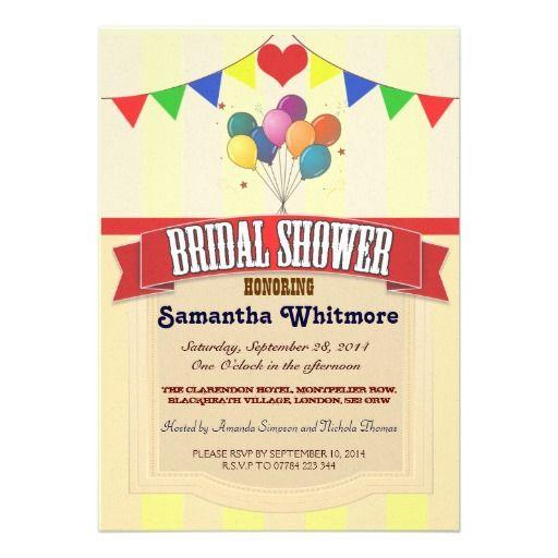VINTAGE CIRCUS BRIDAL SHOWER INVITATIONS