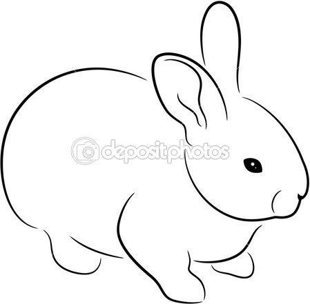 silueta de conejo, aislado. Ilustración de vector animal lindo