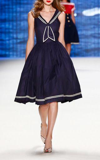 Marine Sailor Styled A Line Dress by LENA HOSCHEK for Preorder on Moda Operandi