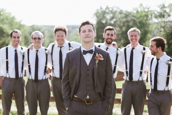 Groomsmen Attire: Gray Pants, Navy With White Pin Dot Tie